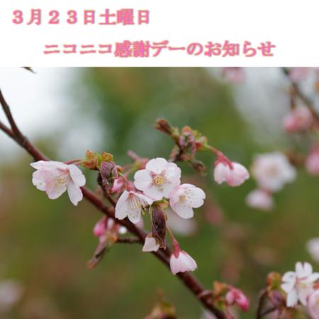 3月23日土曜日のニコニコ感謝デーのお知らせ